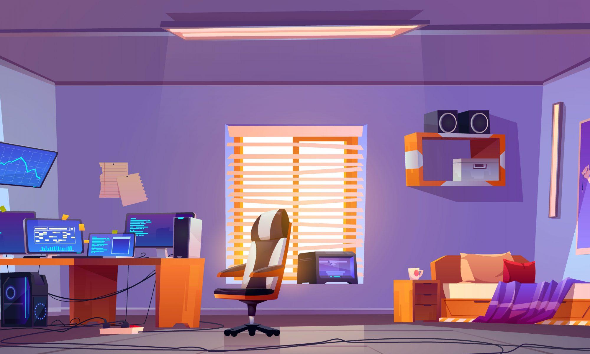 Teenager boy bedroom interior, computers on desk Designed by upklyak / Freepik